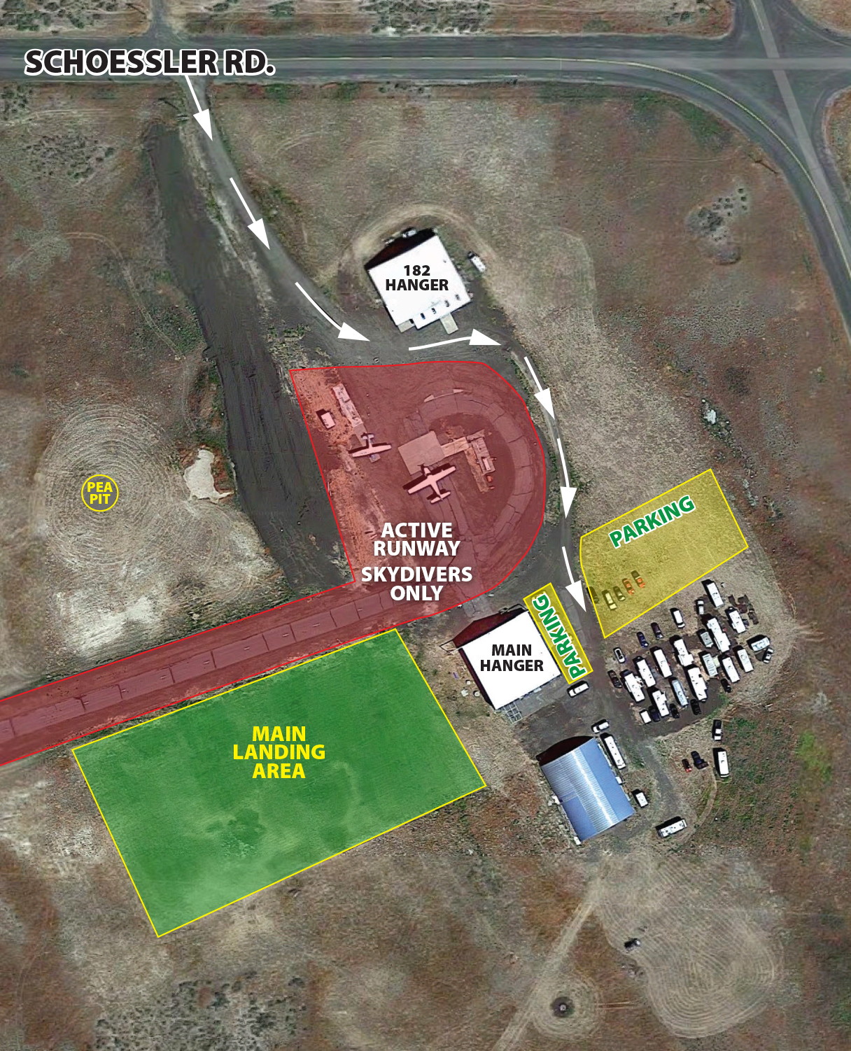Skydive West Plains dropzone overview map